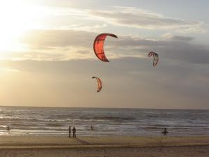 Kitesurfer am Strand von Texel